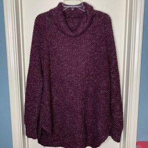 Free People Oversized Burgundy Sweater